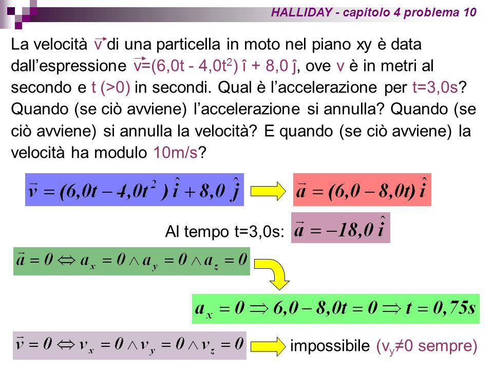 HALLIDAY - capitolo 4 problema 10 La velocità v di una particella in moto nel piano xy è data dallespressione v=(6,0t - 4,0t 2 ) î + 8,0 ĵ, ove v è in