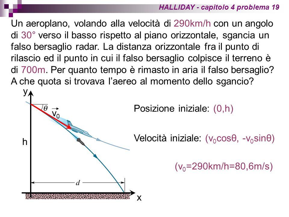 HALLIDAY - capitolo 4 problema 19 Un aeroplano, volando alla velocità di 290km/h con un angolo di 30° verso il basso rispetto al piano orizzontale, sg