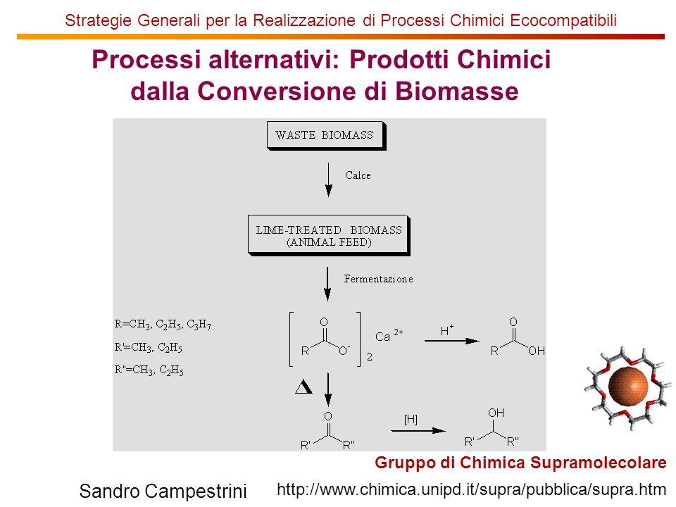 U of T Gruppo di Chimica Supramolecolare http://www.chimica.unipd.it/supra/pubblica/supra.htm Sandro Campestrini Strategie Generali per la Realizzazione di Processi Chimici Ecocompatibili Processi alternativi: Prodotti Chimici dalla Conversione di Biomasse