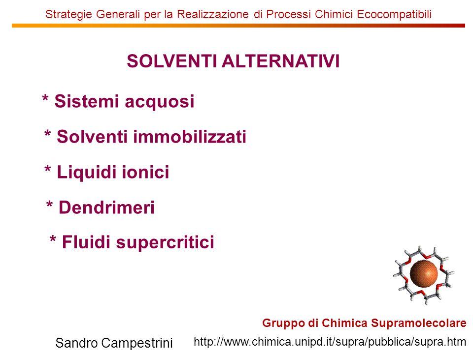 U of T Sandro Campestrini Strategie Generali per la Realizzazione di Processi Chimici Ecocompatibili Gruppo di Chimica Supramolecolare http://www.chim