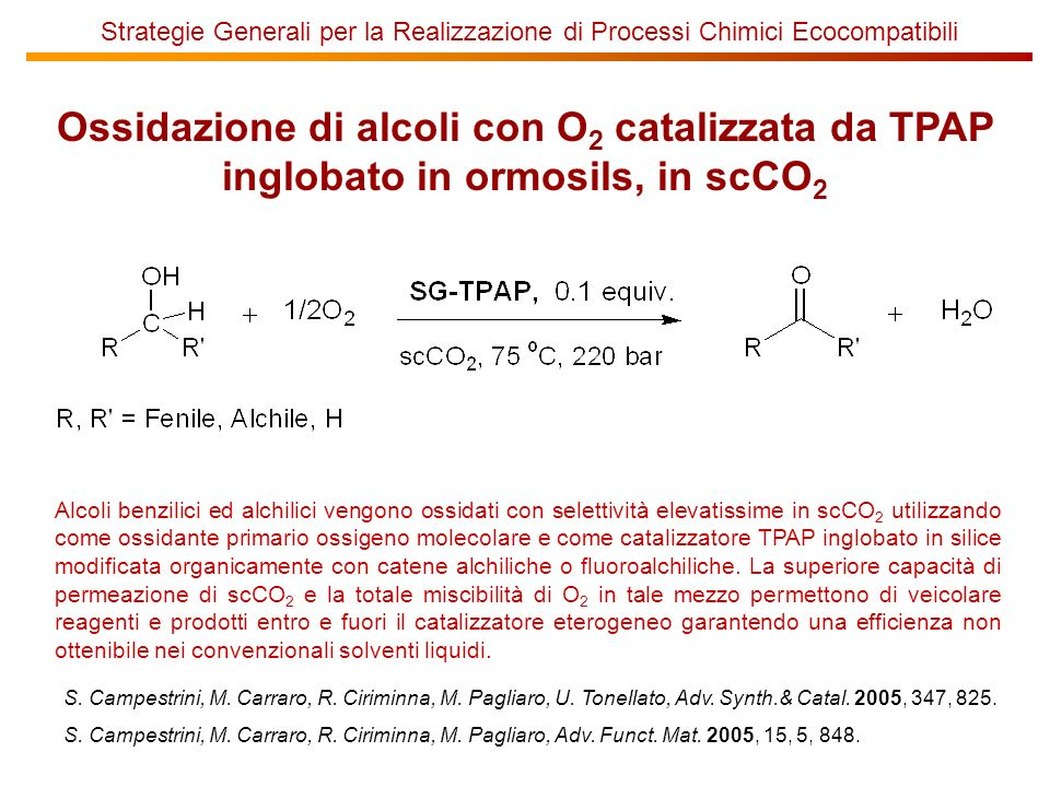 Ossidazione di alcoli con O 2 catalizzata da TPAP inglobato in ormosils, in scCO 2 Alcoli benzilici ed alchilici vengono ossidati con selettività elevatissime in scCO 2 utilizzando come ossidante primario ossigeno molecolare e come catalizzatore TPAP inglobato in silice modificata organicamente con catene alchiliche o fluoroalchiliche.