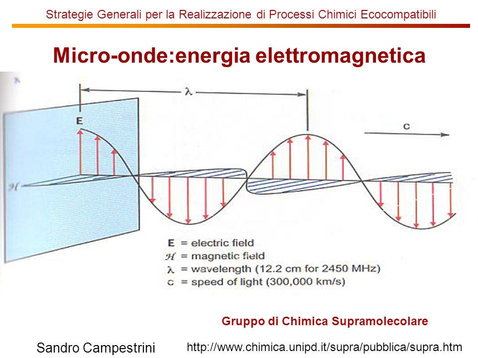 Strategie Generali per la Realizzazione di Processi Chimici Ecocompatibili Gruppo di Chimica Supramolecolare http://www.chimica.unipd.it/supra/pubblica/supra.htm Sandro Campestrini Micro-onde:energia elettromagnetica