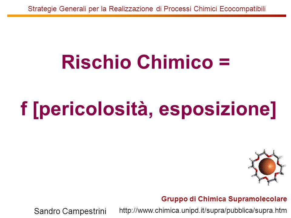 U of T Gruppo di Chimica Supramolecolare http://www.chimica.unipd.it/supra/pubblica/supra.htm Sandro Campestrini Strategie Generali per la Realizzazione di Processi Chimici Ecocompatibili Rischio Chimico = f [pericolosità, esposizione]