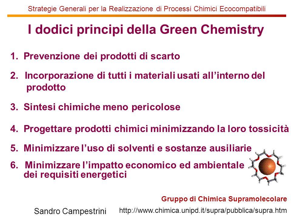 U of T Gruppo di Chimica Supramolecolare http://www.chimica.unipd.it/supra/pubblica/supra.htm Sandro Campestrini Strategie Generali per la Realizzazione di Processi Chimici Ecocompatibili 7.