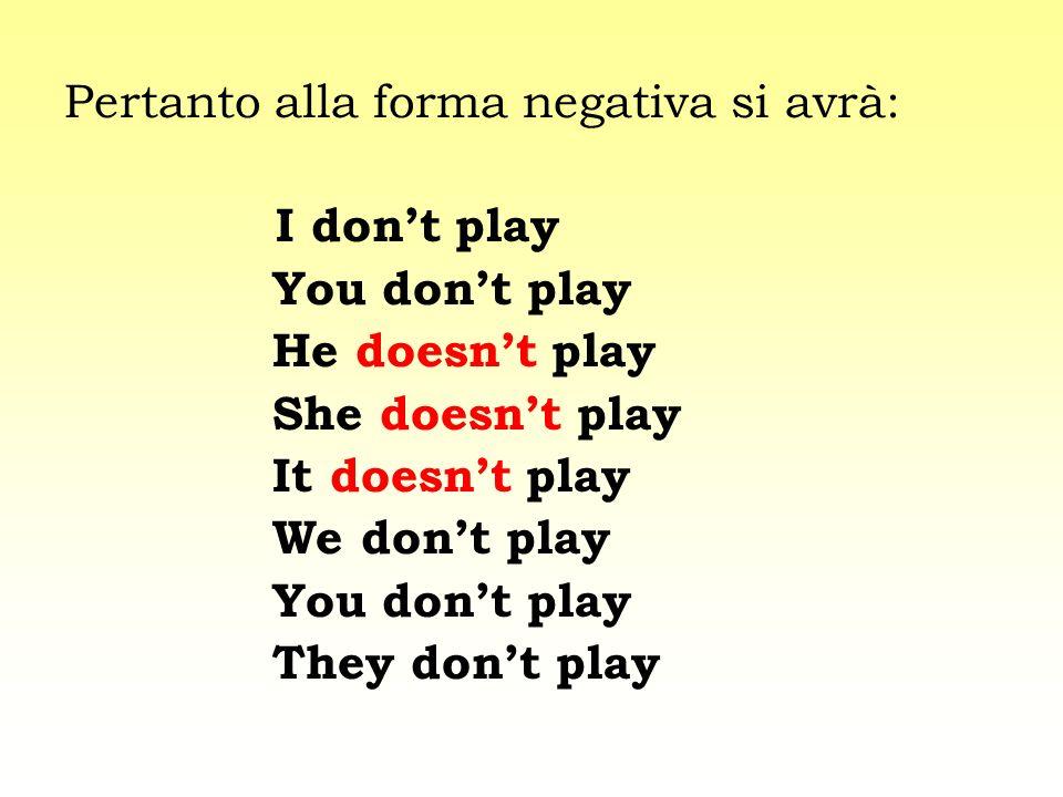 Pertanto alla forma negativa si avrà: I dont play You dont play He doesnt play She doesnt play It doesnt play We dont play You dont play They dont pla