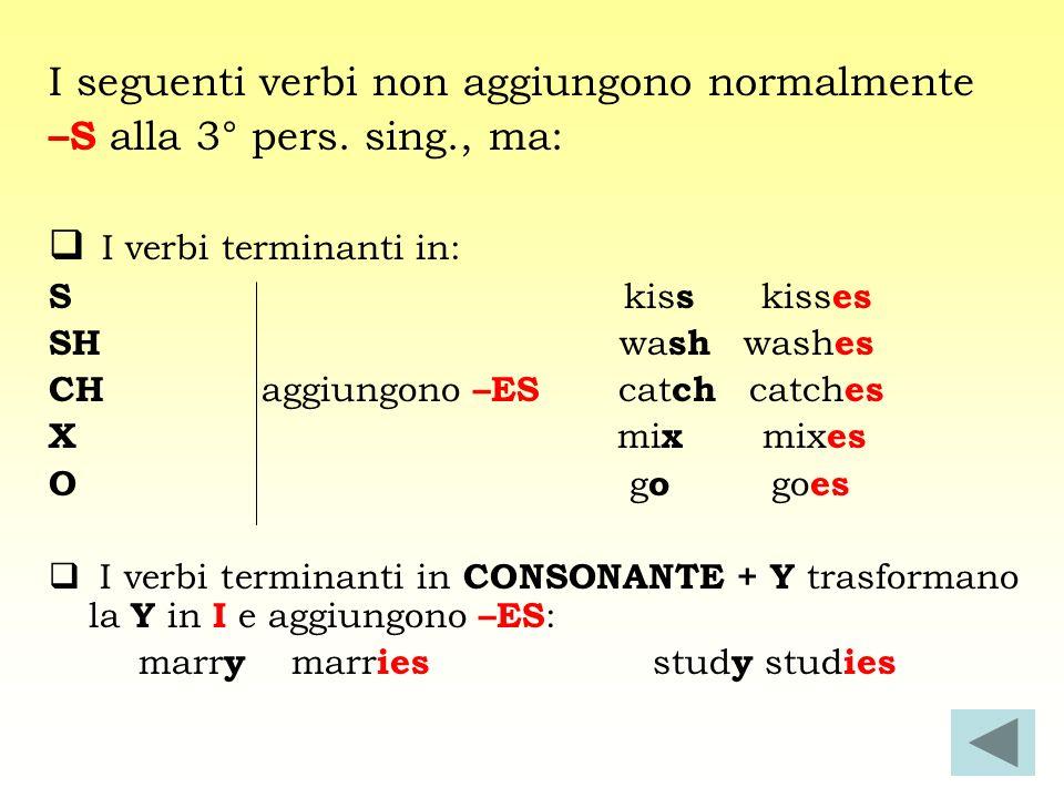 I seguenti verbi non aggiungono normalmente –S alla 3° pers. sing., ma: I verbi terminanti in: S kis s kiss es SH wa sh wash es CH aggiungono –ES cat