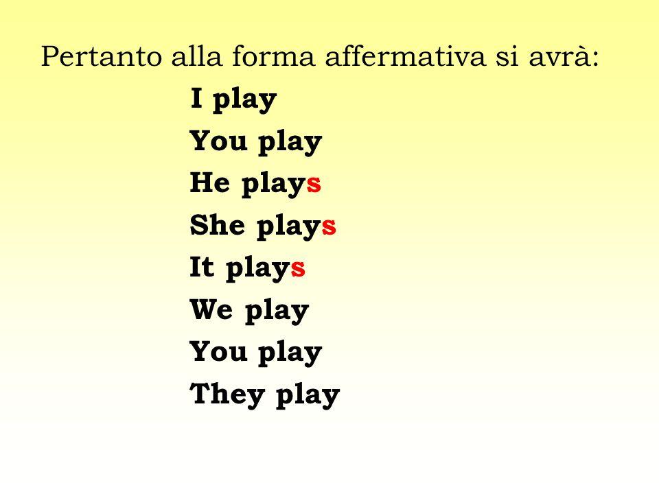 Pertanto alla forma affermativa si avrà: I play You play He plays She plays It plays We play You play They play