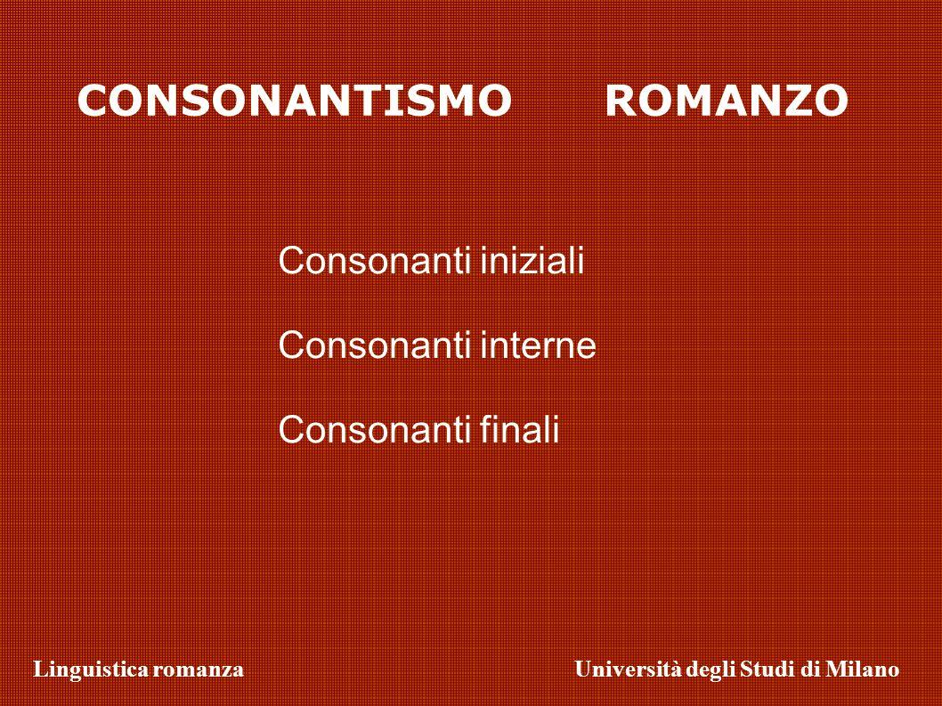 Linguistica romanzaUniversità degli Studi di Milano Consonanti interne Palatalizzazione interna prodotta da /j/ /t/ + /j/ > /ts/ > /s/ (/ /) Iscrizioni: Vincentzus (Vincentius) ampizatru (amphiteatrum) Es.