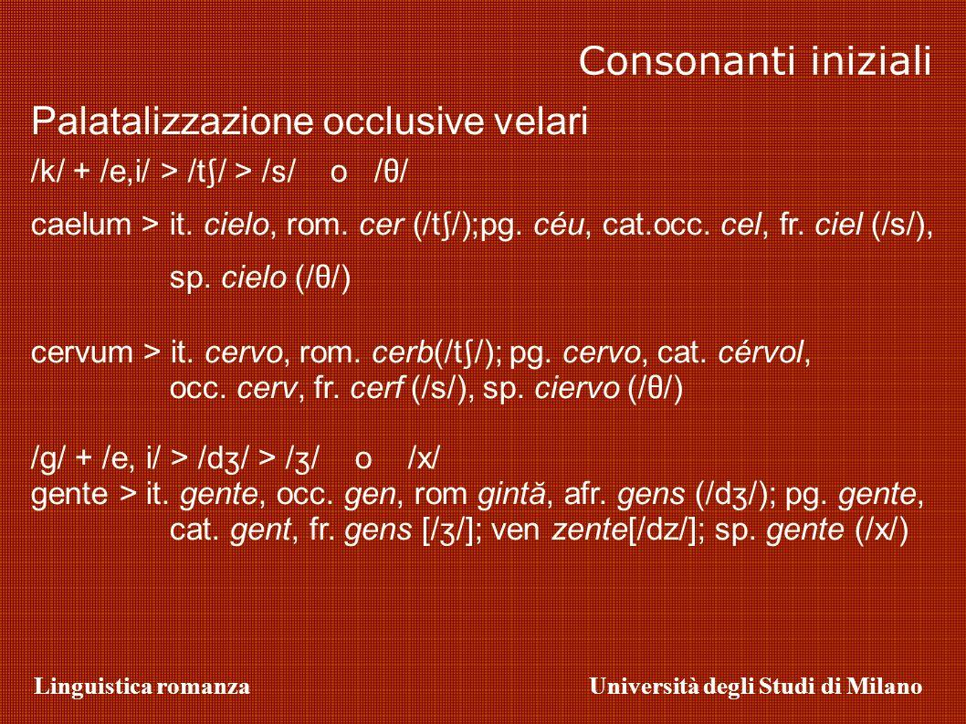 Linguistica romanzaUniversità degli Studi di Milano Consonanti iniziali Palatalizzazione occlusive velari /k/ + /e,i/ > /t / > / / o / / caelum > it.