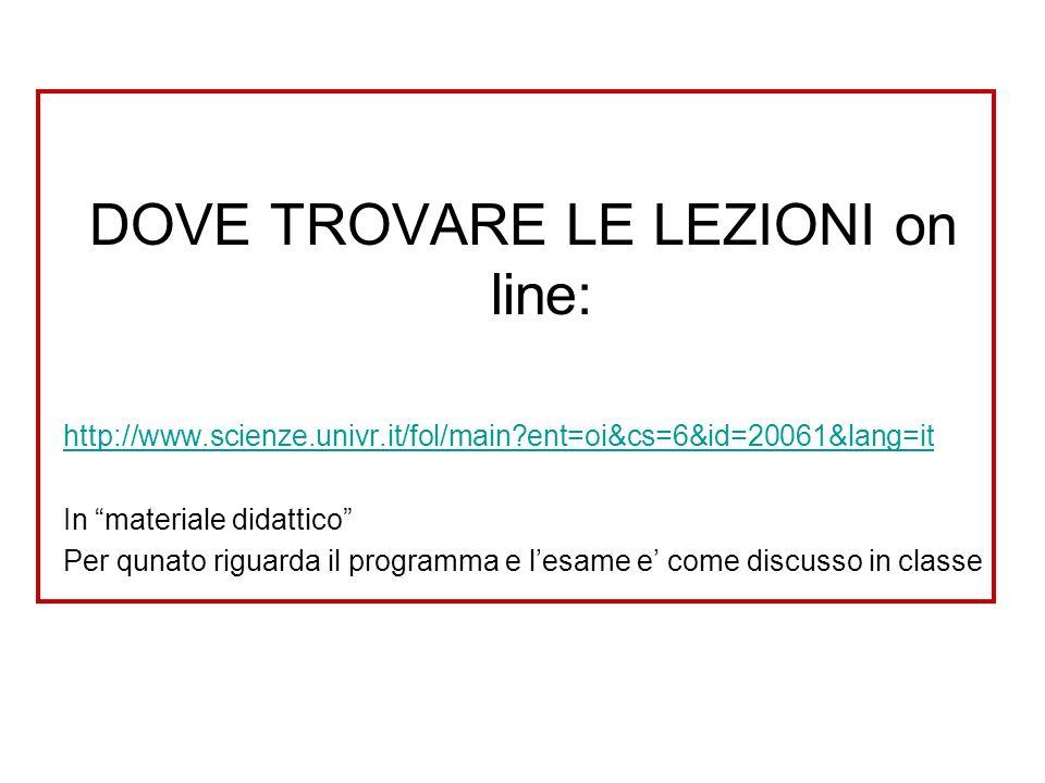 DOVE TROVARE LE LEZIONI on line: http://www.scienze.univr.it/fol/main?ent=oi&cs=6&id=20061&lang=it In materiale didattico Per qunato riguarda il progr