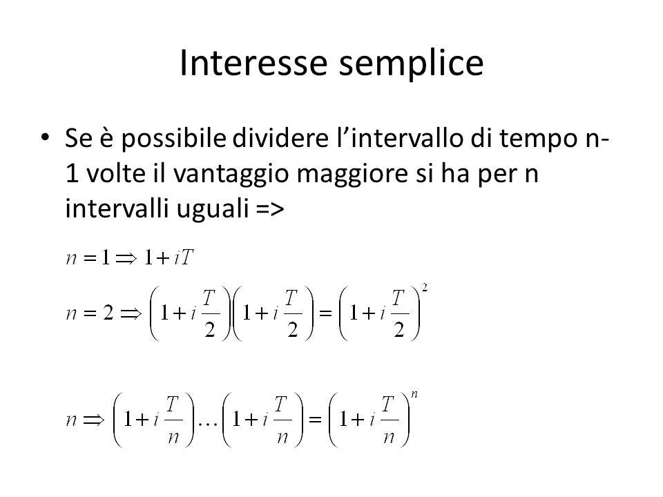 Interesse semplice Se è possibile dividere lintervallo di tempo n- 1 volte il vantaggio maggiore si ha per n intervalli uguali =>