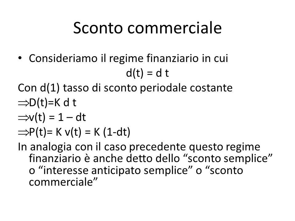 Sconto commerciale Consideriamo il regime finanziario in cui d(t) = d t Con d(1) tasso di sconto periodale costante D(t)=K d t v(t) = 1 – dt P(t)= K v