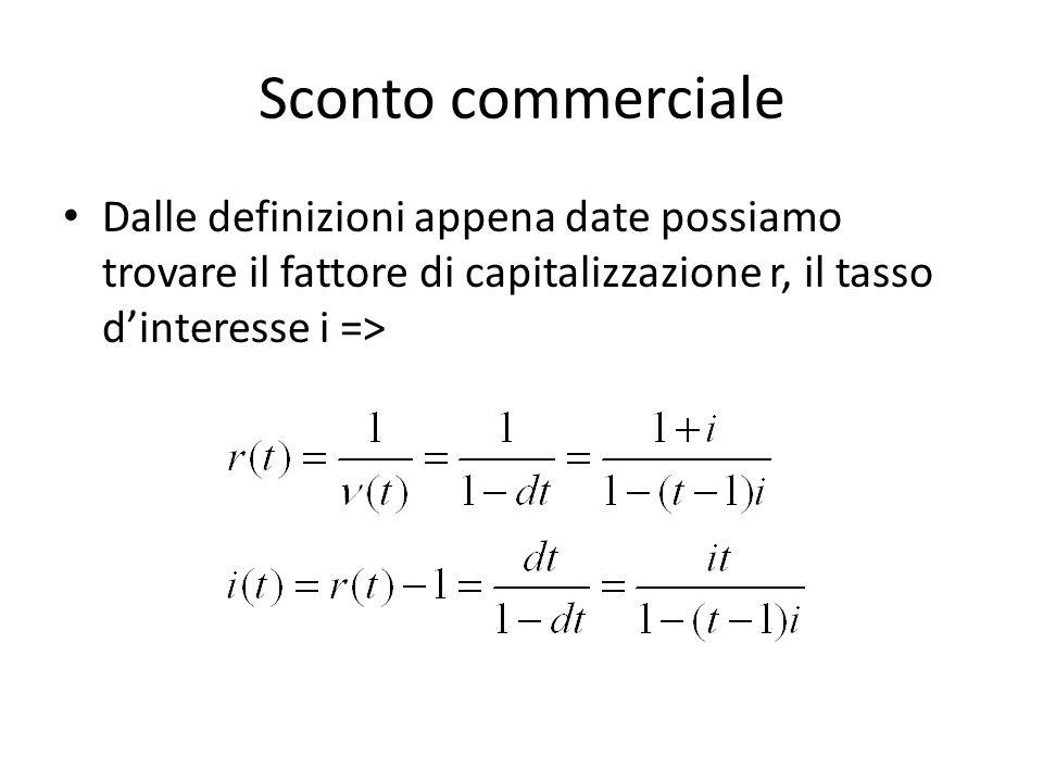 Sconto commerciale Dalle definizioni appena date possiamo trovare il fattore di capitalizzazione r, il tasso dinteresse i =>
