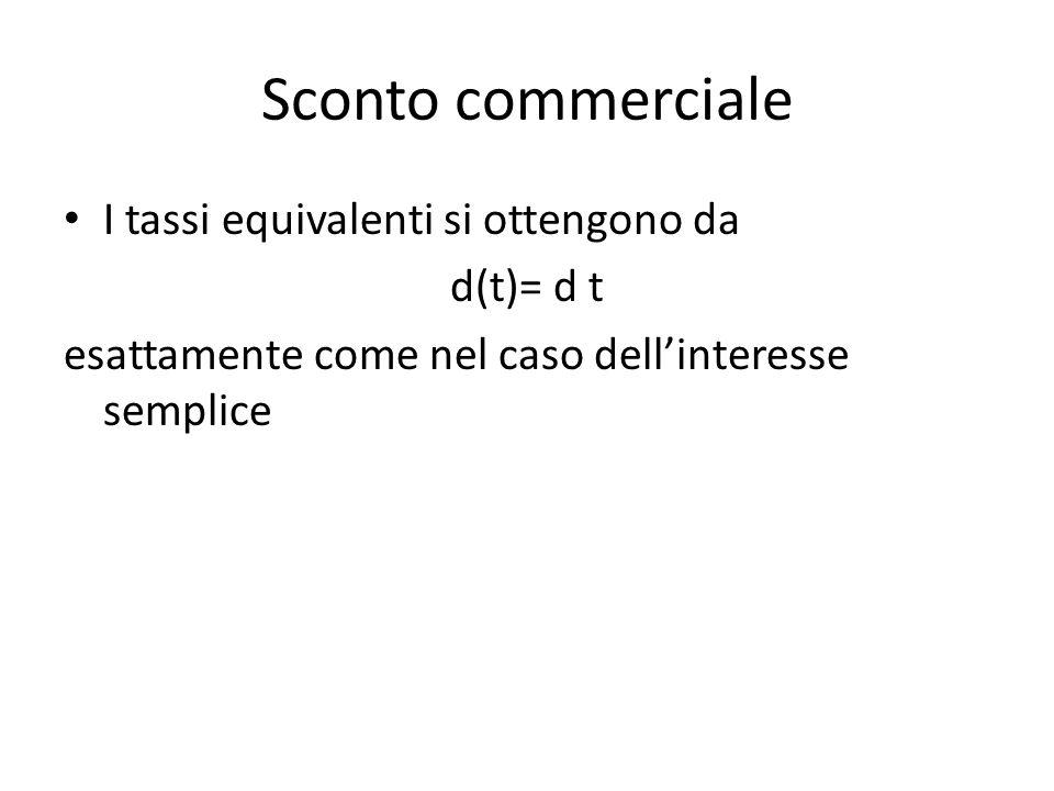 Sconto commerciale I tassi equivalenti si ottengono da d(t)= d t esattamente come nel caso dellinteresse semplice