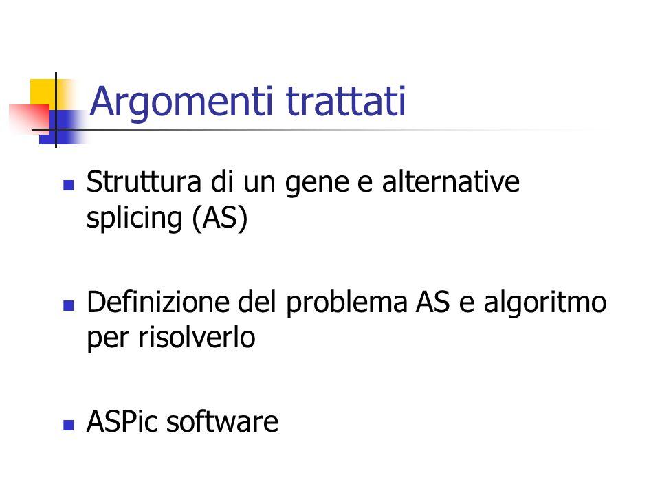 Argomenti trattati Struttura di un gene e alternative splicing (AS) Definizione del problema AS e algoritmo per risolverlo ASPic software