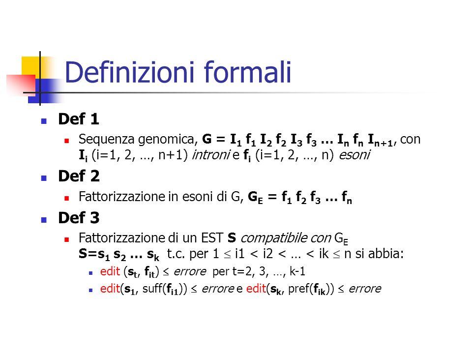 Definizioni formali Def 1 Sequenza genomica, G = I 1 f 1 I 2 f 2 I 3 f 3 … I n f n I n+1, con I i (i=1, 2, …, n+1) introni e f i (i=1, 2, …, n) esoni