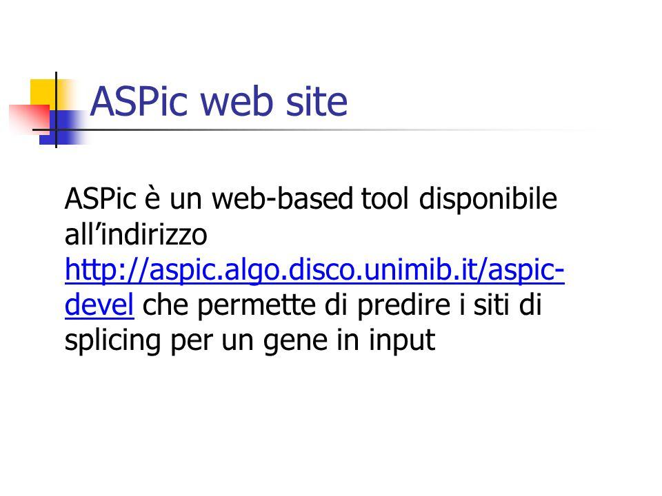 ASPic web site ASPic è un web-based tool disponibile allindirizzo http://aspic.algo.disco.unimib.it/aspic- devel che permette di predire i siti di spl
