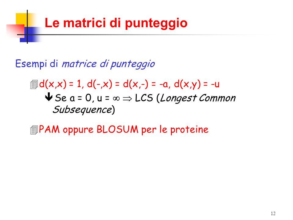 12 Le matrici di punteggio Esempi di matrice di punteggio 4d(x,x) = 1, d(-,x) = d(x,-) = -a, d(x,y) = -u ê Se a = 0, u = LCS (Longest Common Subsequen