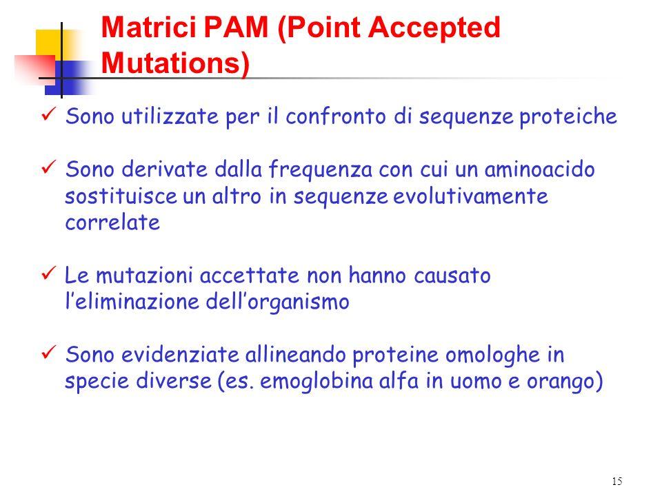 15 Matrici PAM (Point Accepted Mutations) Sono utilizzate per il confronto di sequenze proteiche Sono derivate dalla frequenza con cui un aminoacido s