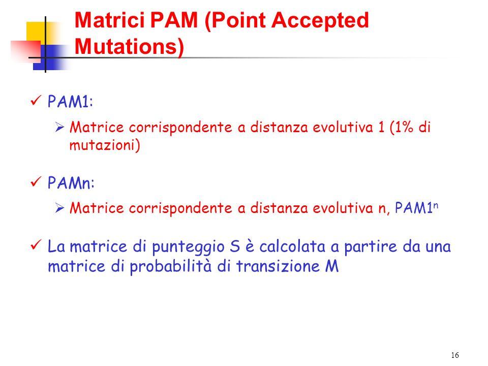 16 Matrici PAM (Point Accepted Mutations) PAM1: Matrice corrispondente a distanza evolutiva 1 (1% di mutazioni) PAMn: Matrice corrispondente a distanz
