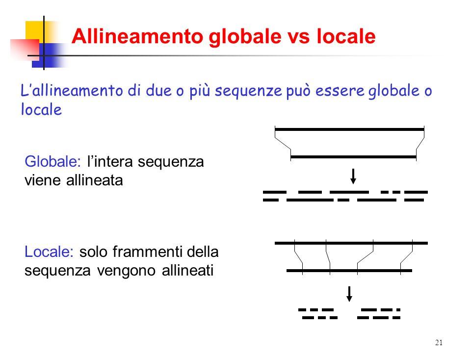 21 Allineamento globale vs locale Lallineamento di due o più sequenze può essere globale o locale Globale: lintera sequenza viene allineata Locale: so
