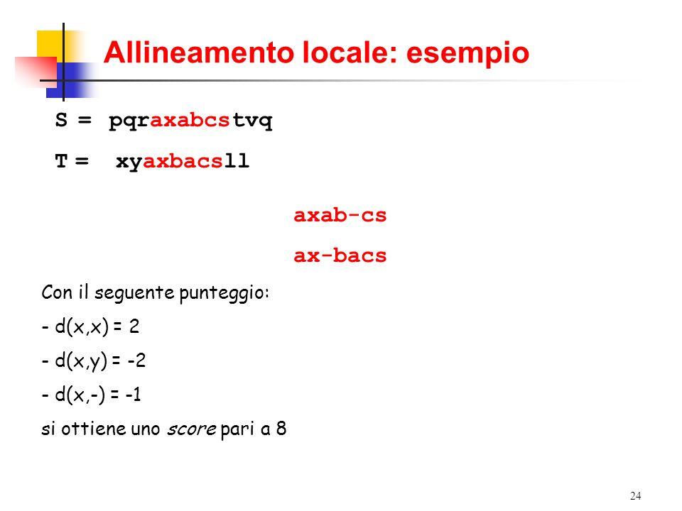 24 Allineamento locale: esempio S =pqraxabcstvq T = xyaxbacsll axab-cs ax-bacs Con il seguente punteggio: - d(x,x) = 2 - d(x,y) = -2 - d(x,-) = -1 si
