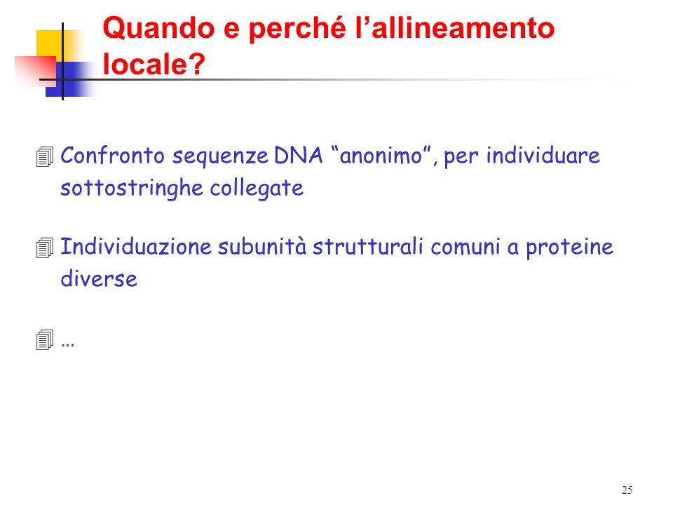 25 Quando e perché lallineamento locale? 4Confronto sequenze DNA anonimo, per individuare sottostringhe collegate 4Individuazione subunità strutturali