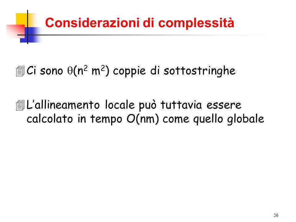 26 Considerazioni di complessità 4Ci sono (n 2 m 2 ) coppie di sottostringhe 4Lallineamento locale può tuttavia essere calcolato in tempo O(nm) come q