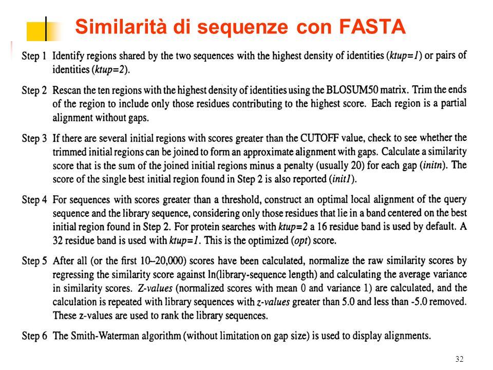 32 Similarità di sequenze con FASTA