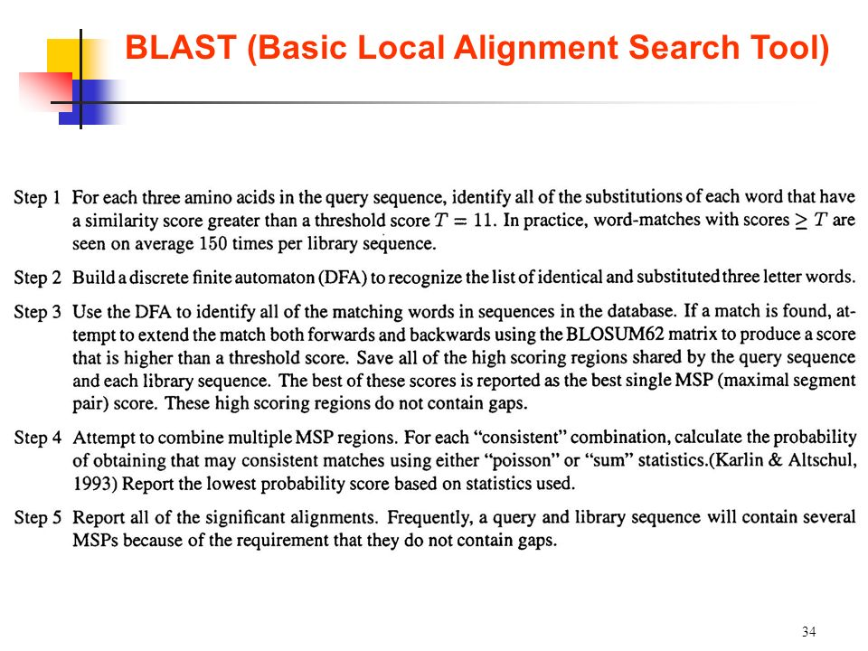 34 BLAST (Basic Local Alignment Search Tool)