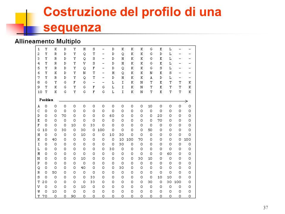 37 Allineamento Multiplo Costruzione del profilo di una sequenza