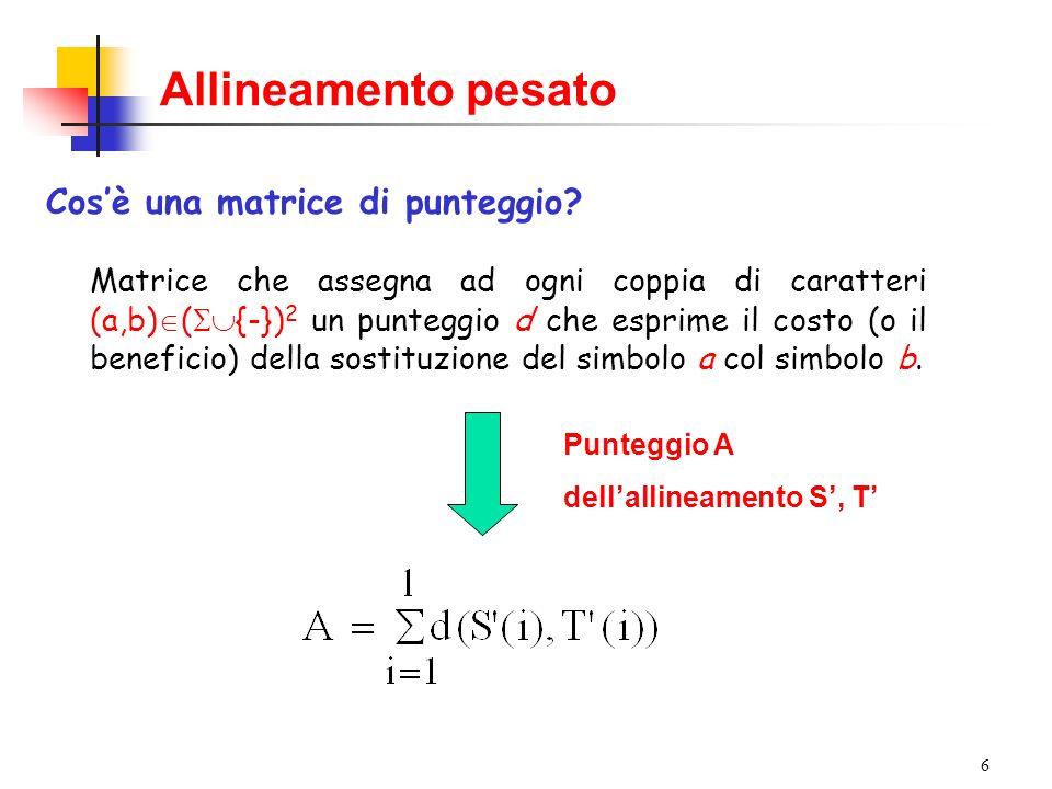 27 Algoritmo di Smith-Waterman Date due sequenze S e T (di lunghezza m e n): 4Si costruisce una matrice A di dimensione (m+1)x(n+1) in cui A(i,j) è il costo di un allineamento tra il suffisso (eventualmente vuoto) S[1,i] e il suffisso T[1,j] 4 Si inizializza la prima riga e la prima colonna di A a zero 4 La ricorrenza è derivata da quella dellallineamento globale, con laggiunta di 0 come valore minimo: A(i,j) = max{0, A(i-1,j) + d(s i,-); A(i,j-1)+d(-,t j ); A(i-1,j-1)+d(s i,t j )}
