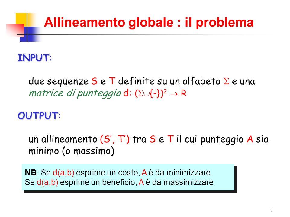 7 Allineamento globale : il problema INPUT INPUT: due sequenze S e T definite su un alfabeto e una matrice di punteggio d: ( {-}) 2 R OUTPUT OUTPUT: u