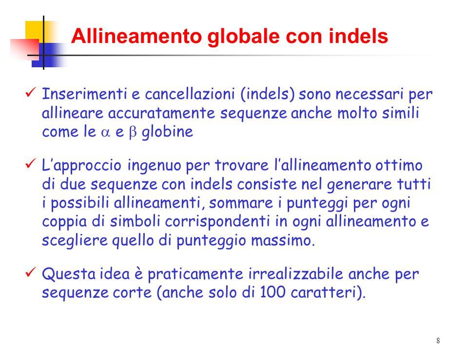 8 Allineamento globale con indels Inserimenti e cancellazioni (indels) sono necessari per allineare accuratamente sequenze anche molto simili come le