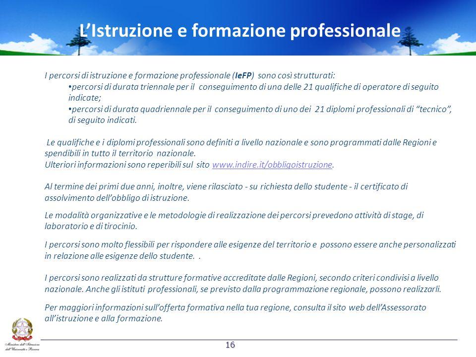 I percorsi di istruzione e formazione professionale (IeFP) sono così strutturati: percorsi di durata triennale per il conseguimento di una delle 21 qu