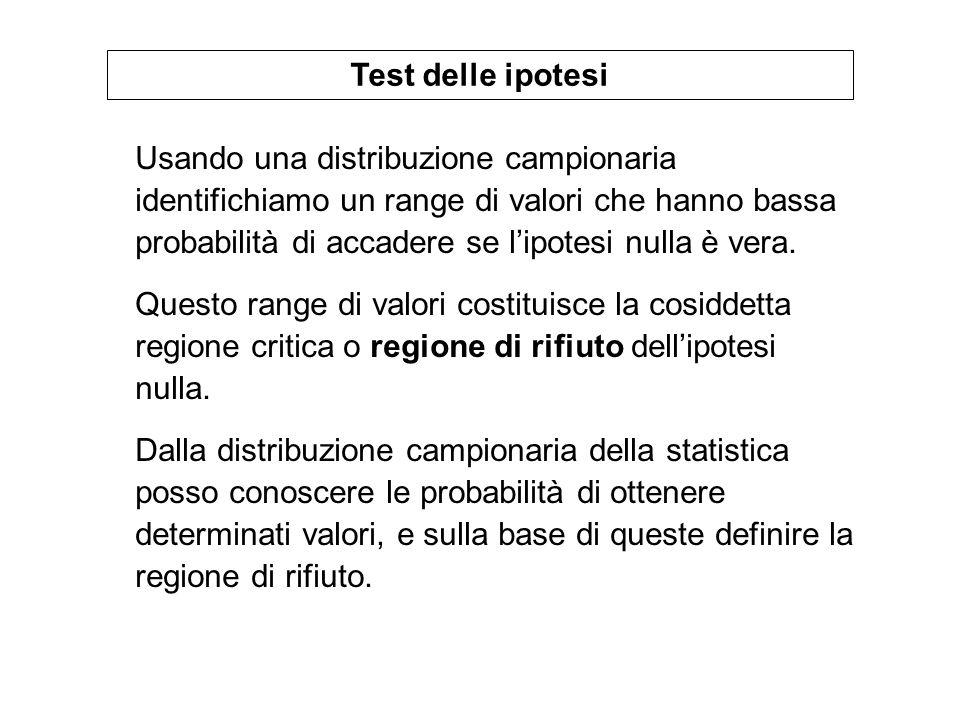 Se non è noto si utilizza la sua stima s e la relativa stima dellerrore standard: La statistica da usare per il test è t con (n-1) gradi di libertà (GL).