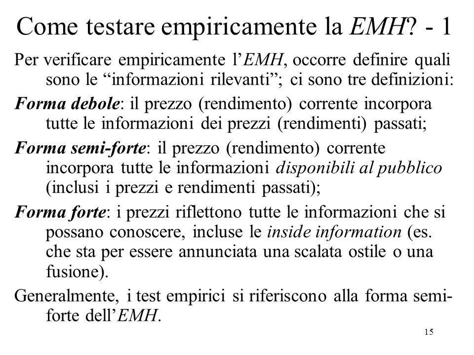 15 Come testare empiricamente la EMH? - 1 Per verificare empiricamente lEMH, occorre definire quali sono le informazioni rilevanti; ci sono tre defini