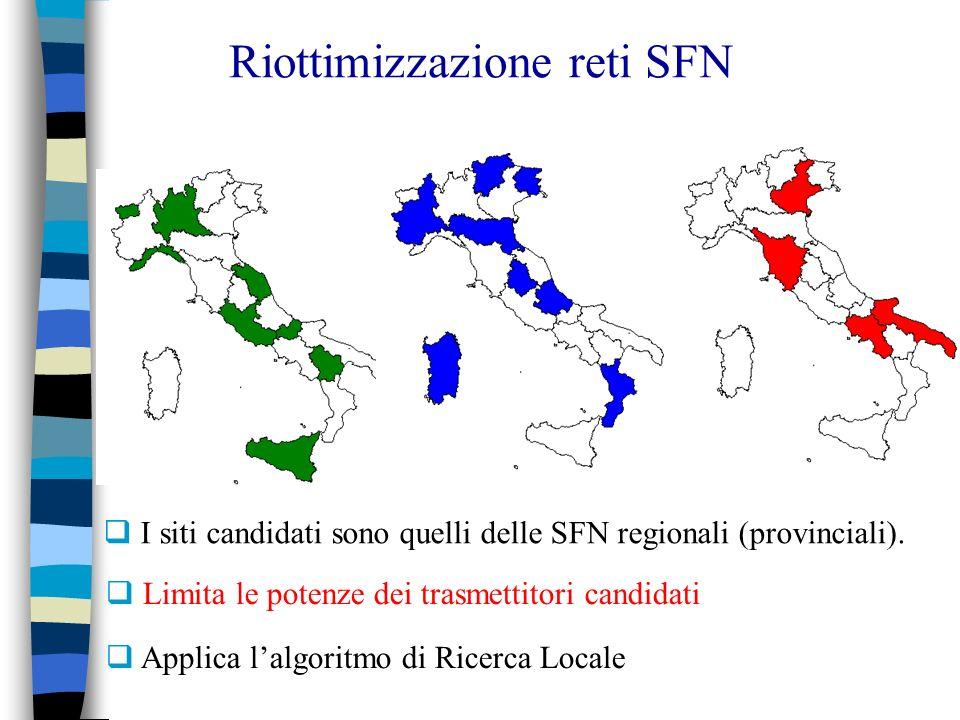 Riottimizzazione reti SFN I siti candidati sono quelli delle SFN regionali (provinciali). Limita le potenze dei trasmettitori candidati Applica lalgor
