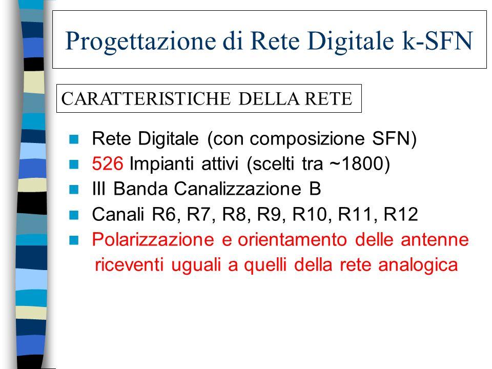 Progettazione di Rete Digitale k-SFN Rete Digitale (con composizione SFN) 526 Impianti attivi (scelti tra ~1800) III Banda Canalizzazione B Canali R6,