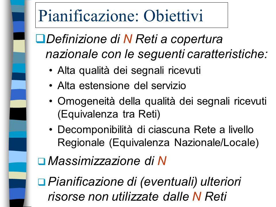 Pianificazione: Obiettivi Definizione di N Reti a copertura nazionale con le seguenti caratteristiche: Alta qualità dei segnali ricevuti Alta estensio