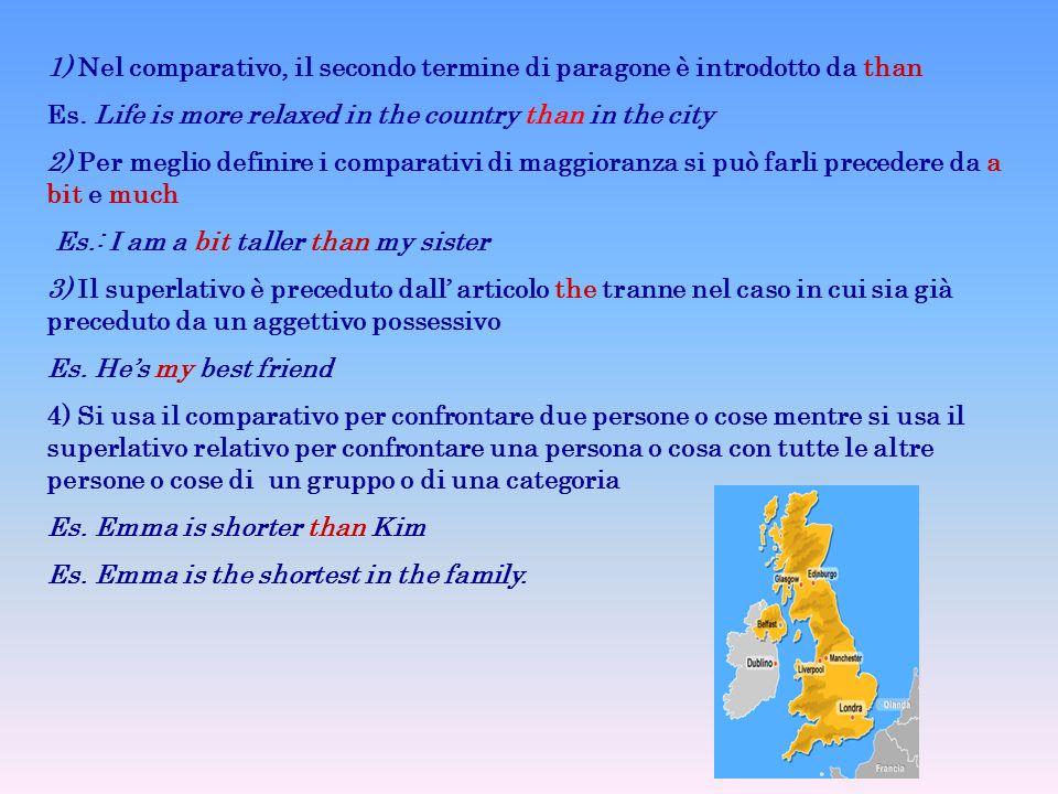 1) Nel comparativo, il secondo termine di paragone è introdotto da than Es.
