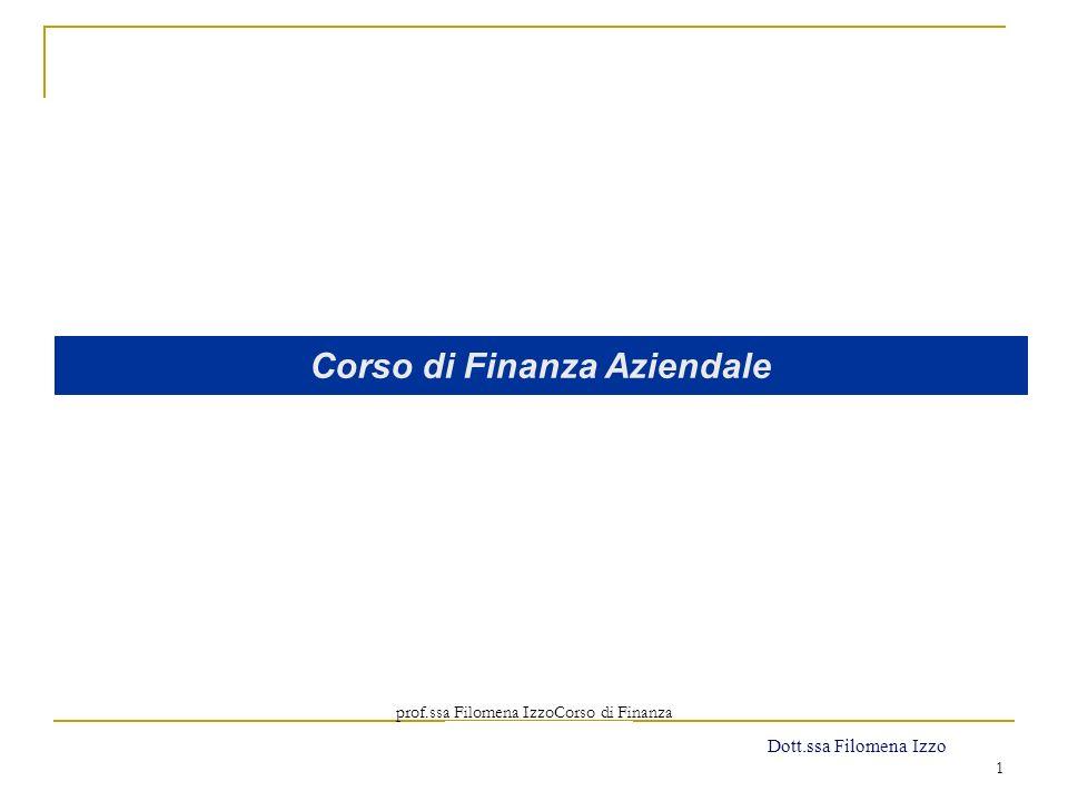 prof.ssa Filomena IzzoCorso di Finanza Aziendale Prof. Mario Mustilli 1 Corso di Finanza Aziendale Dott.ssa Filomena Izzo