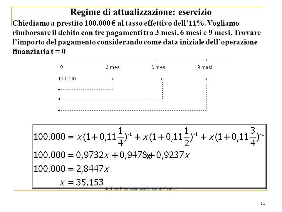 prof.ssa Filomena IzzoCorso di Finanza Aziendale Prof. Mario Mustilli 11 Chiediamo a prestito 100.000 al tasso effettivo dell11%. Vogliamo rimborsare