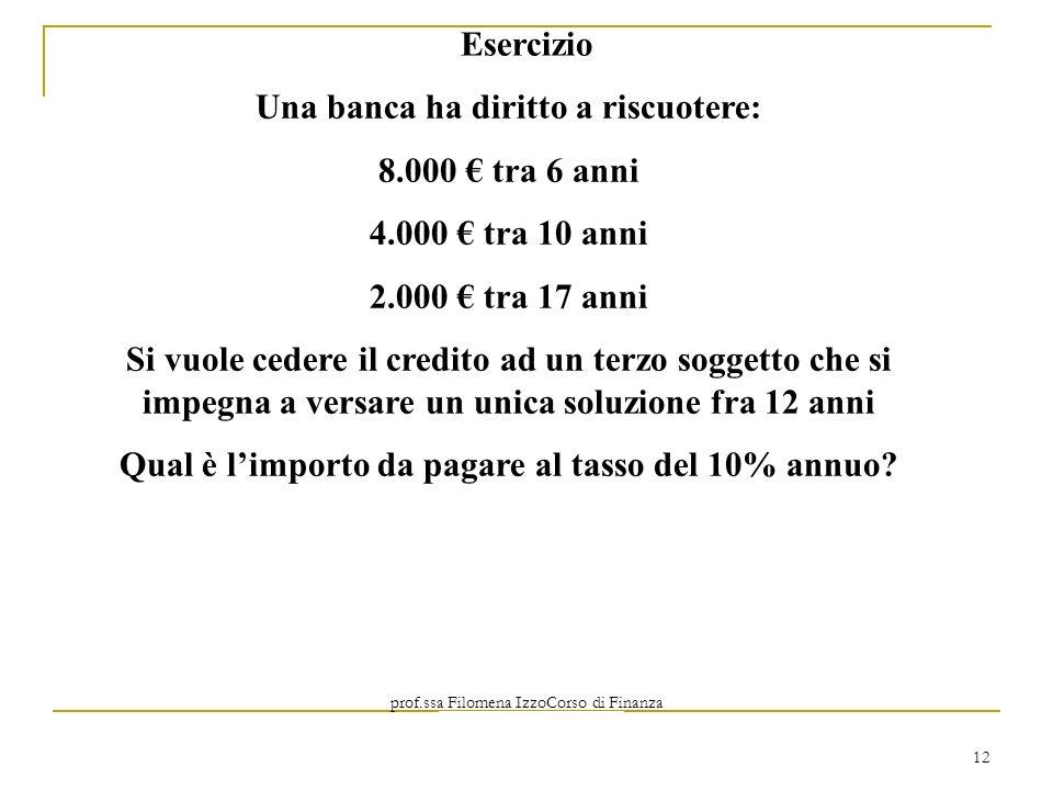 prof.ssa Filomena IzzoCorso di Finanza Aziendale Prof. Mario Mustilli 12 Una banca ha diritto a riscuotere: 8.000 tra 6 anni 4.000 tra 10 anni 2.000 t