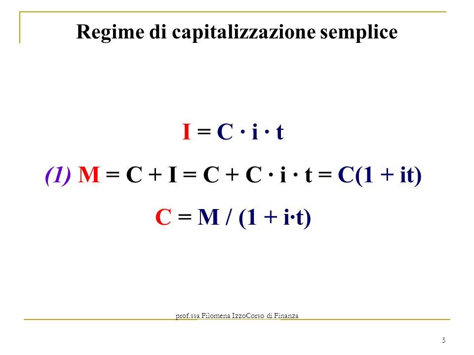 prof.ssa Filomena IzzoCorso di Finanza Aziendale Prof. Mario Mustilli 5 I = C i t (1) M = C + I = C + C i t = C(1 + it) C = M / (1 + it) Regime di cap