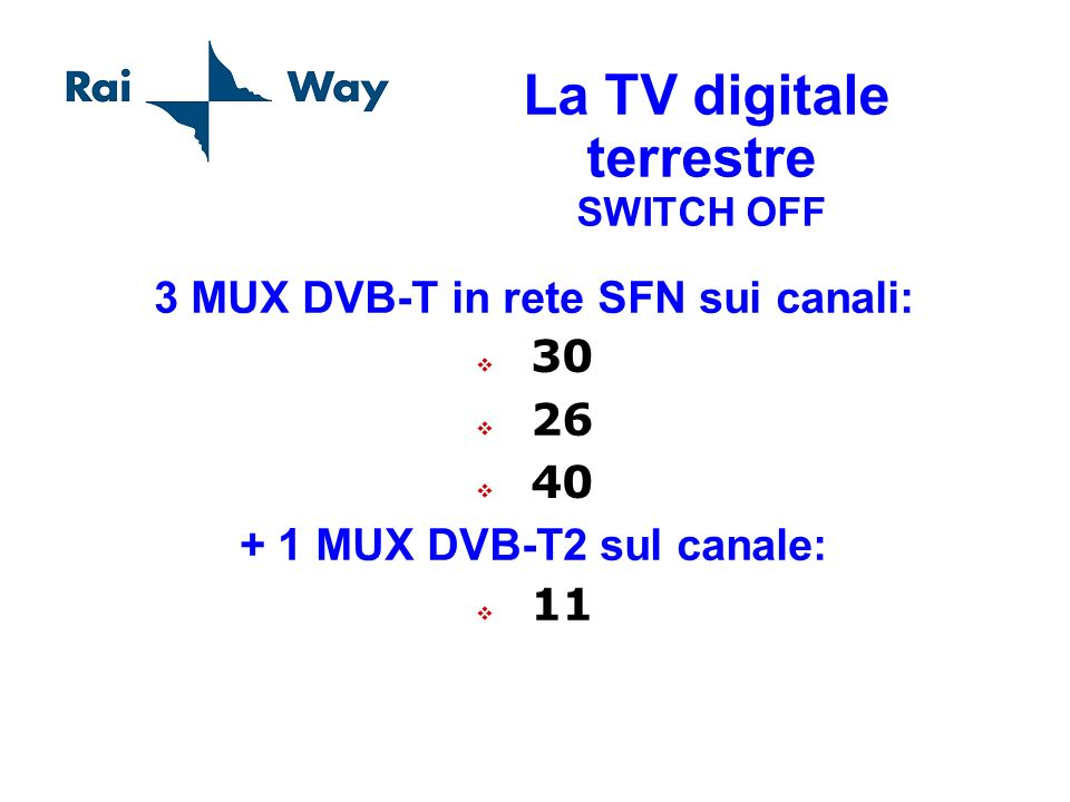 La TV digitale terrestre SWITCH OFF 3 MUX DVB-T in rete SFN sui canali: 30 26 40 + 1 MUX DVB-T2 sul canale: 11