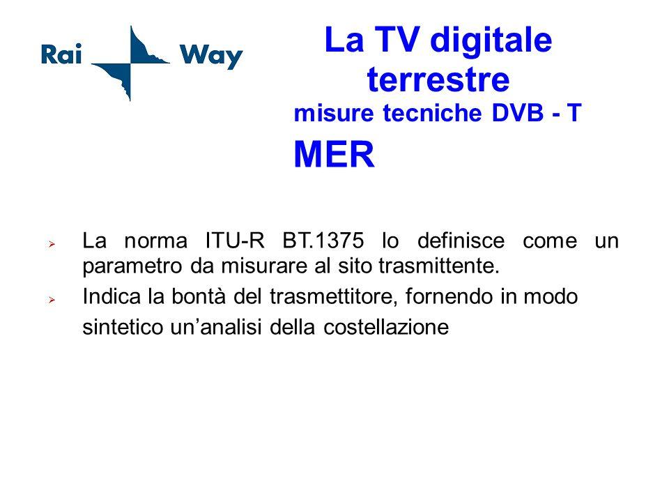 La TV digitale terrestre misure tecniche DVB - T MER La norma ITU-R BT.1375 lo definisce come un parametro da misurare al sito trasmittente. Indica la