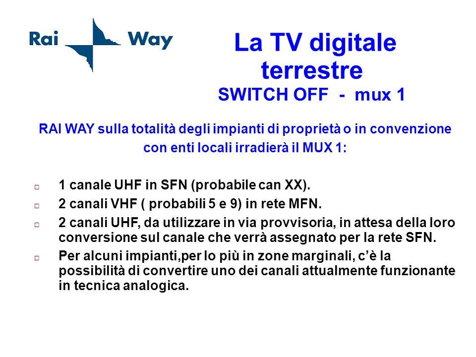La TV digitale terrestre SWITCH OFF - mux 1 RAI WAY sulla totalità degli impianti di proprietà o in convenzione con enti locali irradierà il MUX 1: 1