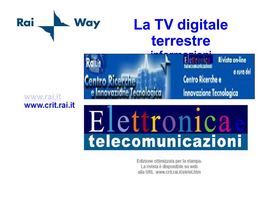 La TV digitale terrestre informazioni www.rai.it www.rai.it www.crit.rai.it