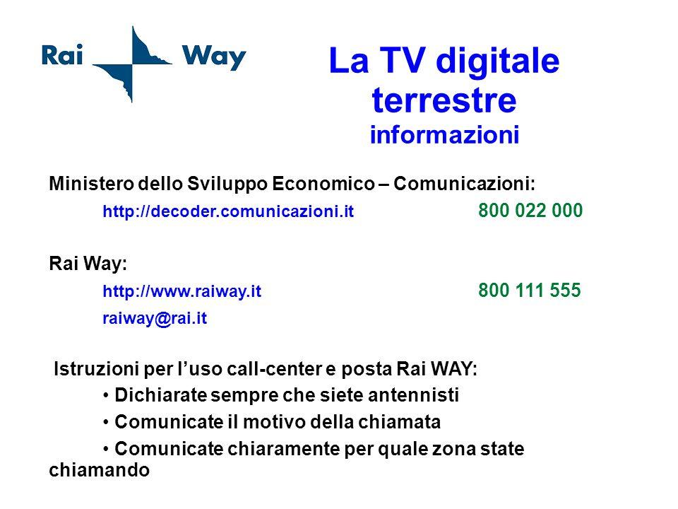 Ministero dello Sviluppo Economico – Comunicazioni: http://decoder.comunicazioni.it 800 022 000 Rai Way: http://www.raiway.it 800 111 555 raiway@rai.i